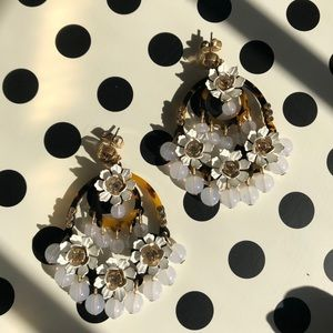 J Crew White Flower Tortoise Statement Earrings